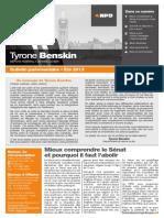 Été 2013 — Bulletin parlementaire de Tyrone Benskin, version française