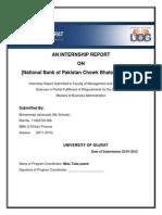 Muhammad Jahanzaib (11022720-028) MBA  internship report National Bank Of Pakistan