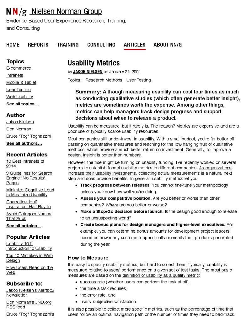 Usability Metrics | Arithmetic Mean | Usability