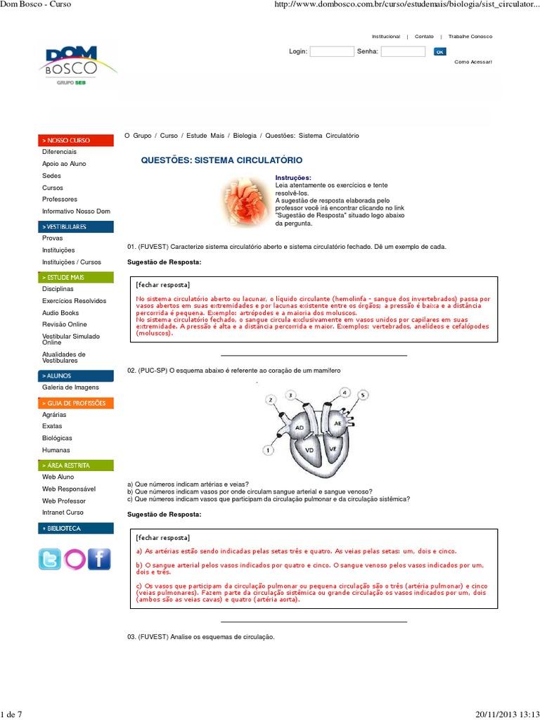 cinco exemplos do sistema circulatório