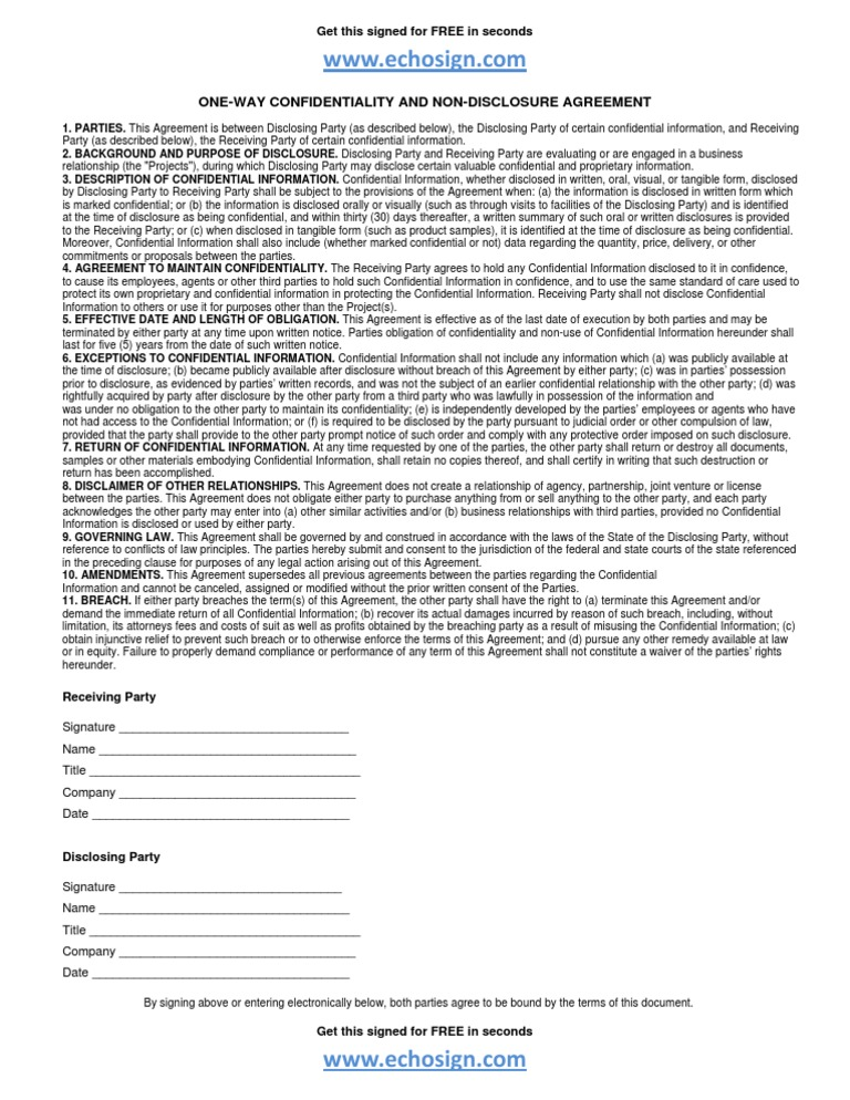 Nda Non Disclosure Agreement Form From Echosign Electronic