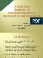 La Memoria. Como Funciona y Como Mejorar Su Rendimiento-lic. Natalia Samter