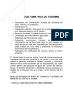 Requisitos Para Visa de Turismo