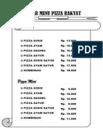 Daftar Menu Pizza Rakyat