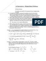 Applications to Derivatives - Related Rates Problems