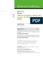 reseña sobre Perplejidades del lector modelo Borges a Piglia