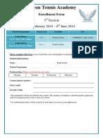 Falcon Tennis Register Form 2013-14