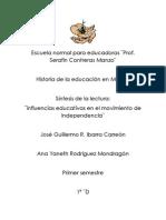 Sientesis de La Lectura Influencias Educativas en El Mov.de Inependencia
