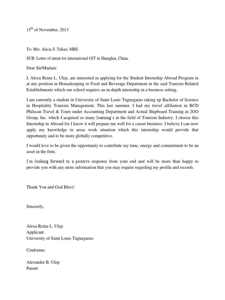 letter of intent for internship sample
