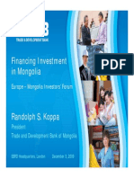 Financing Investment in Mongolia 2009