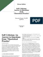 Etienne Balibar Self Criticism
