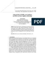 Characteristics of facility service industry  and effects on buyer-supplier relationships