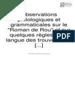"""Observations philologiques et grammaticales sur le """"Roman de Rou"""" et sur quelques règles de la langue des trouvères"""