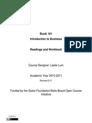Bus101 Book May2011 | Résumé | Internship