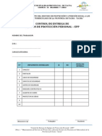 Formato de Control de Entrega de Equipos de Proteccion Personal - EPP