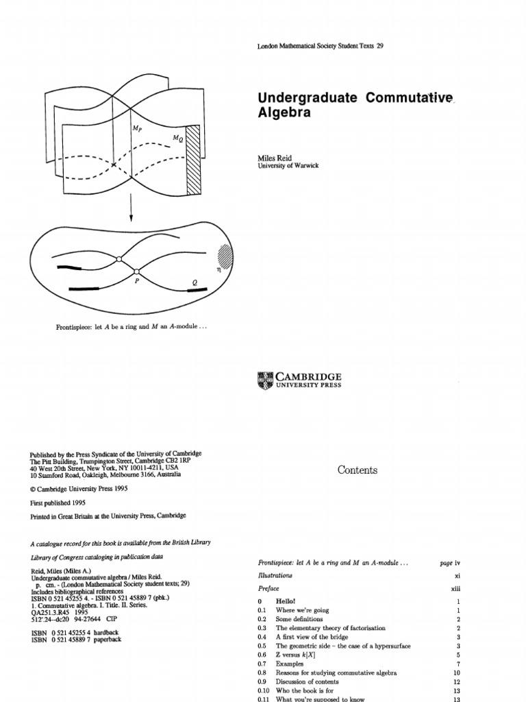 Undergraduate Commutative Algebra, Reid
