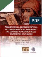 Memoria de la Comisión Especial de Conmemoración del Bicentenario del Congreso de Anáhuac, y de los Sentimientos de la Nación.