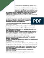 RESUMEN DE LA LEY DE DELITOS INFORMÁTICOS DE VENEZUELA