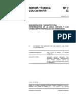 NTC 92 Determinación de la Masa Unitaria y los Vacíos entre Partículas de Agregados