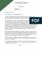 Charitable Tax Deduction Letter to Senate Finance leaders Baucus & Hatch