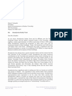 Letter from Brandywine Realty Trust CEO to Radnor Township board president; Transcript of Radnor police visit to law office