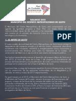 Balance de Gobierno 2013 -  Municipio del Distrito Metropolitano de Quito