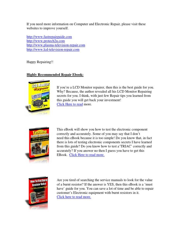 Vestel 15inch TFT en LCD TV Monitor Service Manual | Videocassette Recorder  | Electrical Connector