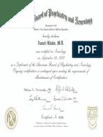 Aunali Khaku ABPN Neurology Board Certification Certificate. American Board of Psychiatry and Neurology Neurology Board Certificate. Diplomate of the ABPN
