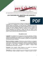 FUNCIONES DEL MAESTRO DE AUDICIÓN Y LENGUAJE