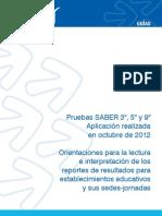 Orientaciones Lectura Interpretacion Resultados de SABER 2012 Guia Para Los Establec Educativos