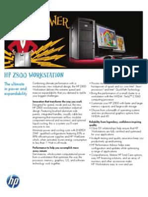 HP z800 Workstation Datasheet (2011 03-Mar) | Intel | Operating System