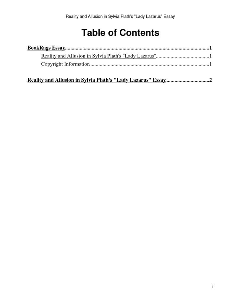 sylvia plath lady lazarus analysis sparknotes