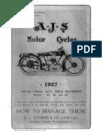 Ajs 1927 AJS Instruction Manual H3 H4 H5