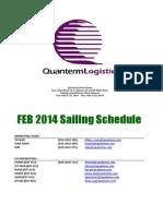 International Sailing Schedule (February 2014)