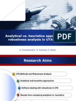 Analytical vs. heuristics approaches for robustness analysis in UTA Methods