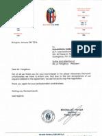 Il documento del Bologna che informa il Guangzhou della rottura della trattativa