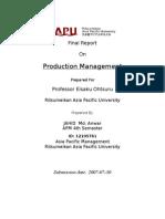 Production Mnagement short report