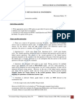 GATE 2014 METALLURGICAL ENGINEERING MODEL /MOCK QUESTION PAPER