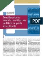 Consideraciones sobre la reutilización de filtros de grado esterilizante