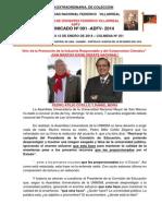 COMUNICADO Nº 001. SAN MARCOS EXIGE DEBATE NACIONAL