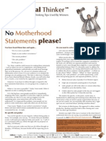 Critical Thinker Issue 3.2009 - No Motherhood Statements