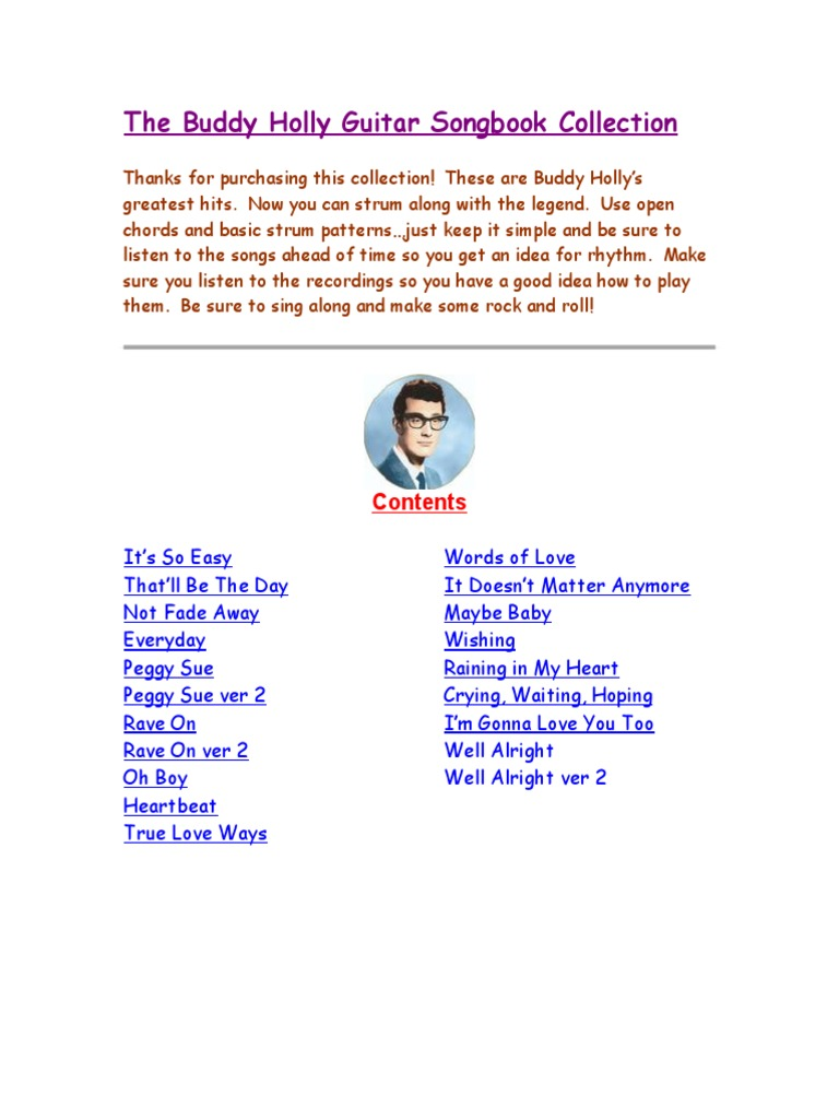 Buddy Holly Songbookc Song Structure Music Theory