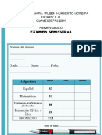 Examen Semestral Primer Grado Seccion a 2013