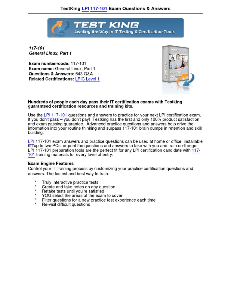 Lpi 117 101 Exam Questionspdf Computer File Command Line Interface
