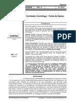 Ventilador Centrífugo - Folha de Dados