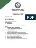 Harrisburg Board of School Directors Regular Meeting Agenda 1-24-14