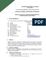 SILABO DE TALLER VIII GESTIÓN ADMINISTRATIVA II CONTRATACIONES 2013-I MEJORADO