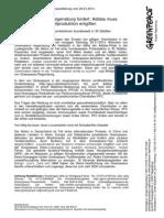 Presseerklärung vom 24.01.2014 Greenpeace Regensburg fordert  Adidas muss Textilproduktion entgiften