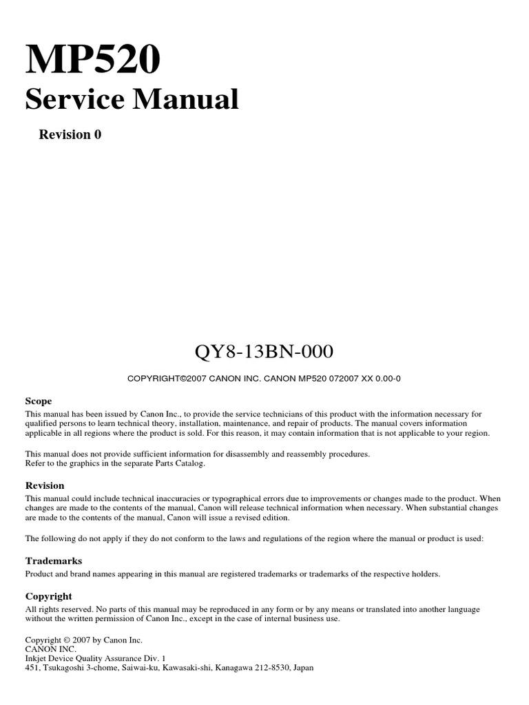 canon mp520 service manual printer computing image scanner rh es scribd com