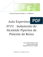 Relatório n°01 - EXTRAÇÃO DA PIPERINA DA PIMENTA
